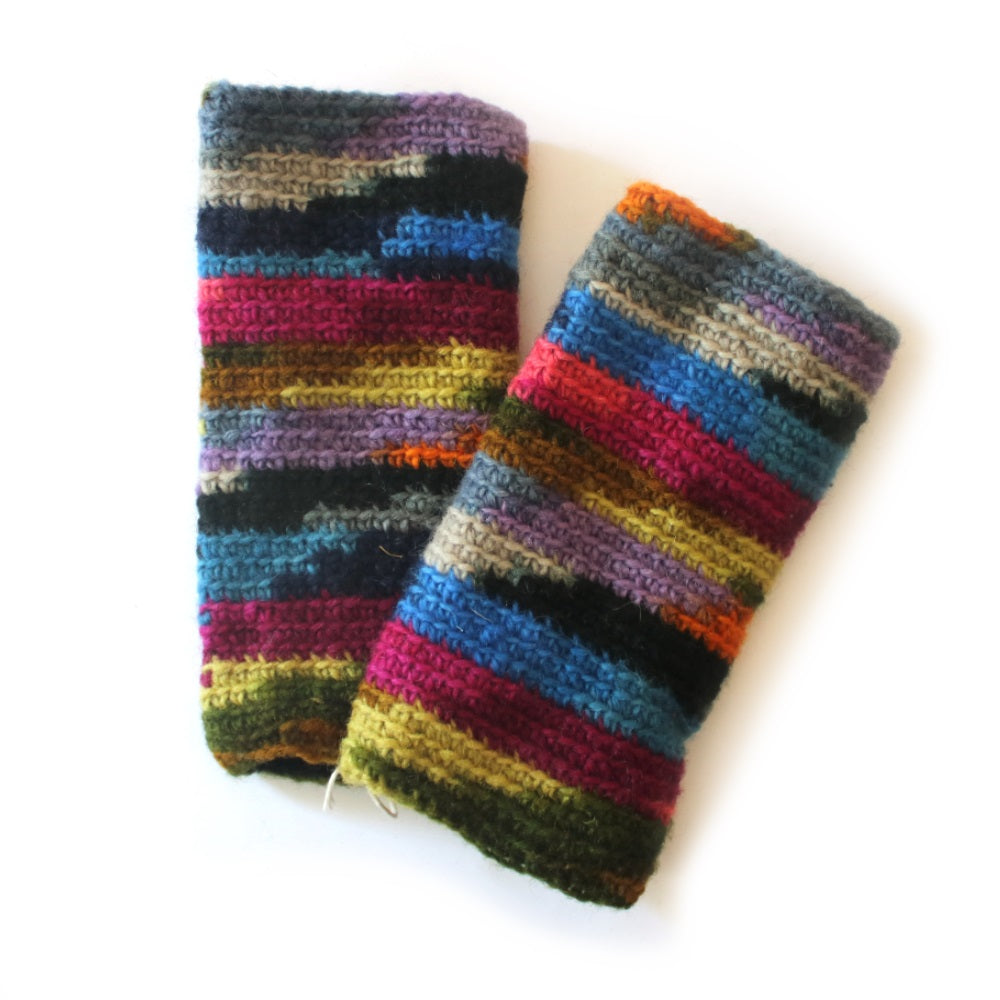 knitted wrist warmers in bright colourful tie dye print