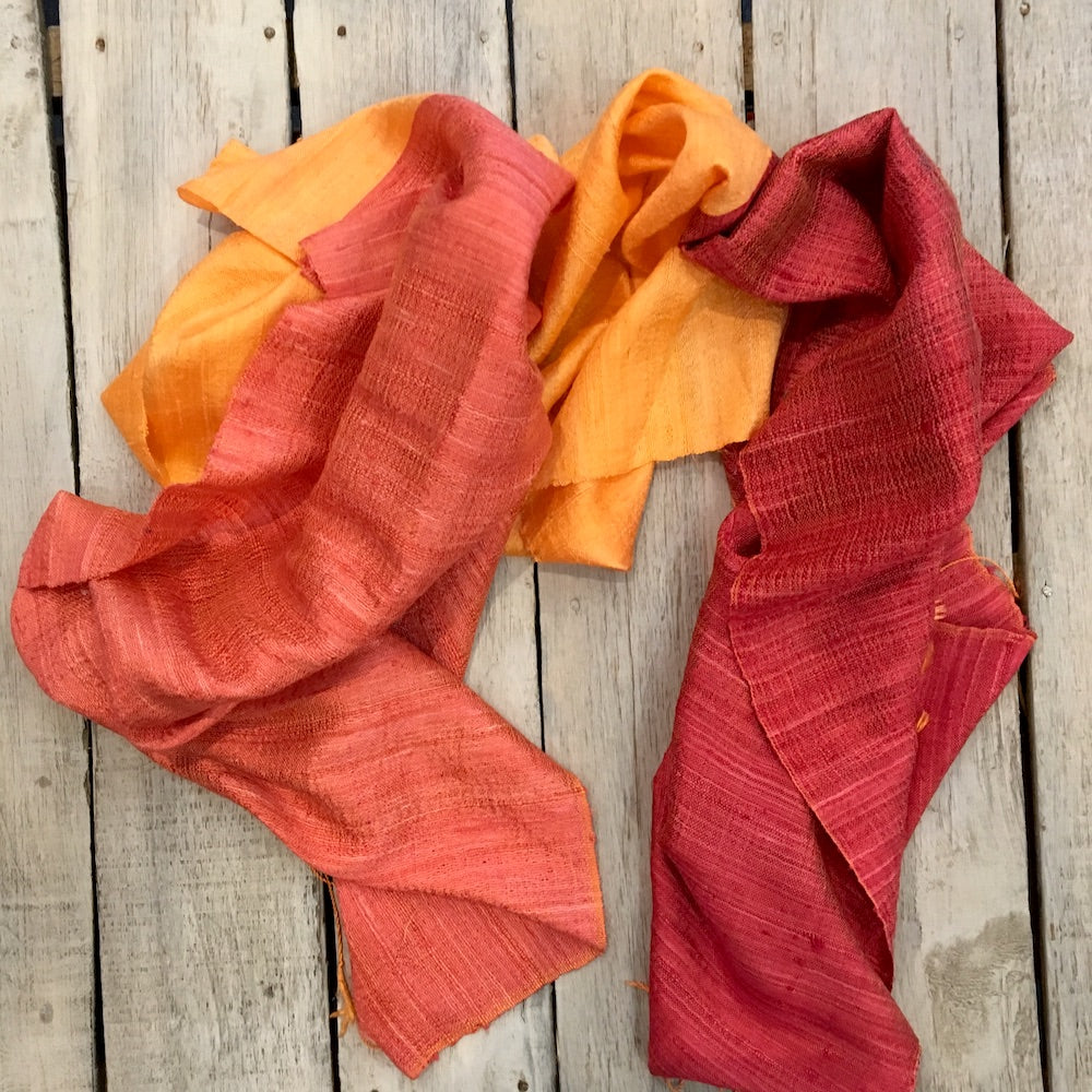 two tone orange silk scarf from laos