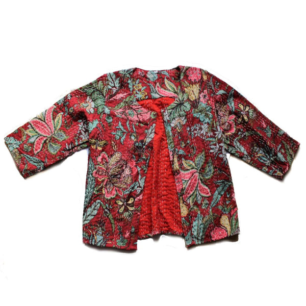red floral india jacket fair trade bolero kantha