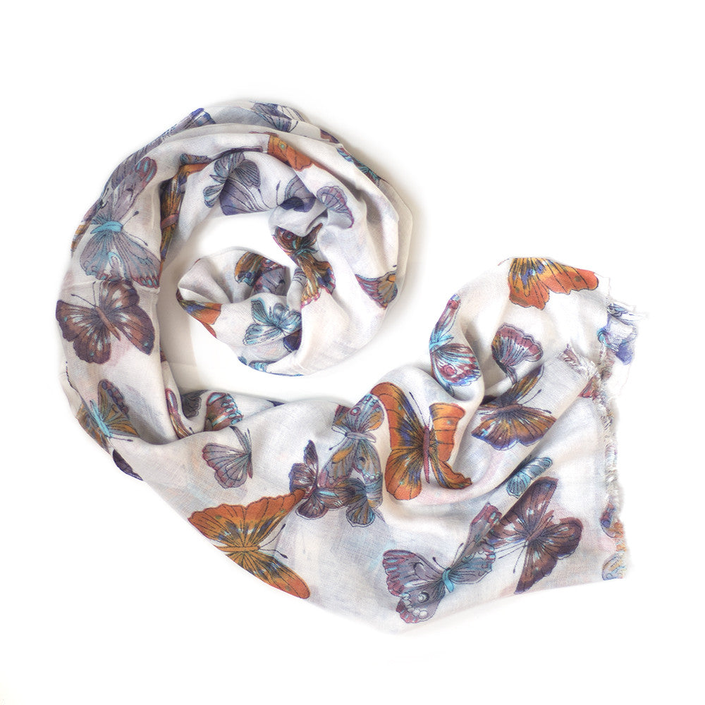white sunset butterfly print scarf