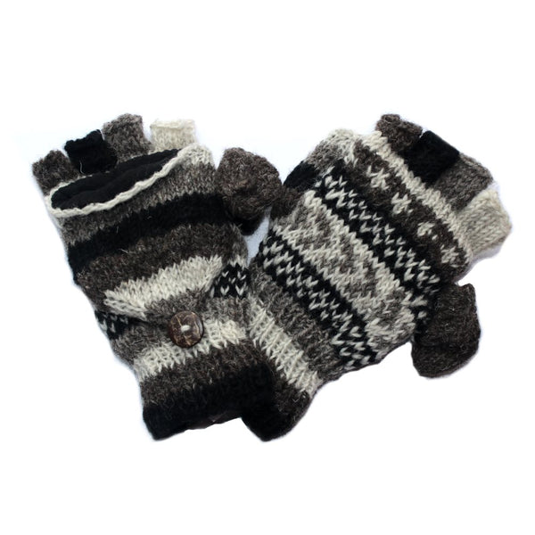 black white soft knitted winter stripe wool gloves