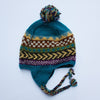 winter stripe ear flap bobble hat