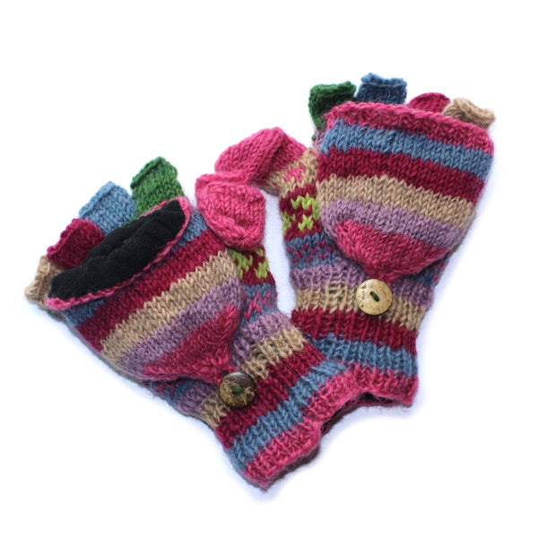 pink knitted winter stripe gloves