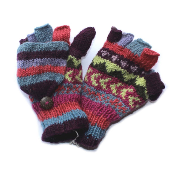 purple winter stripe print wool gloves