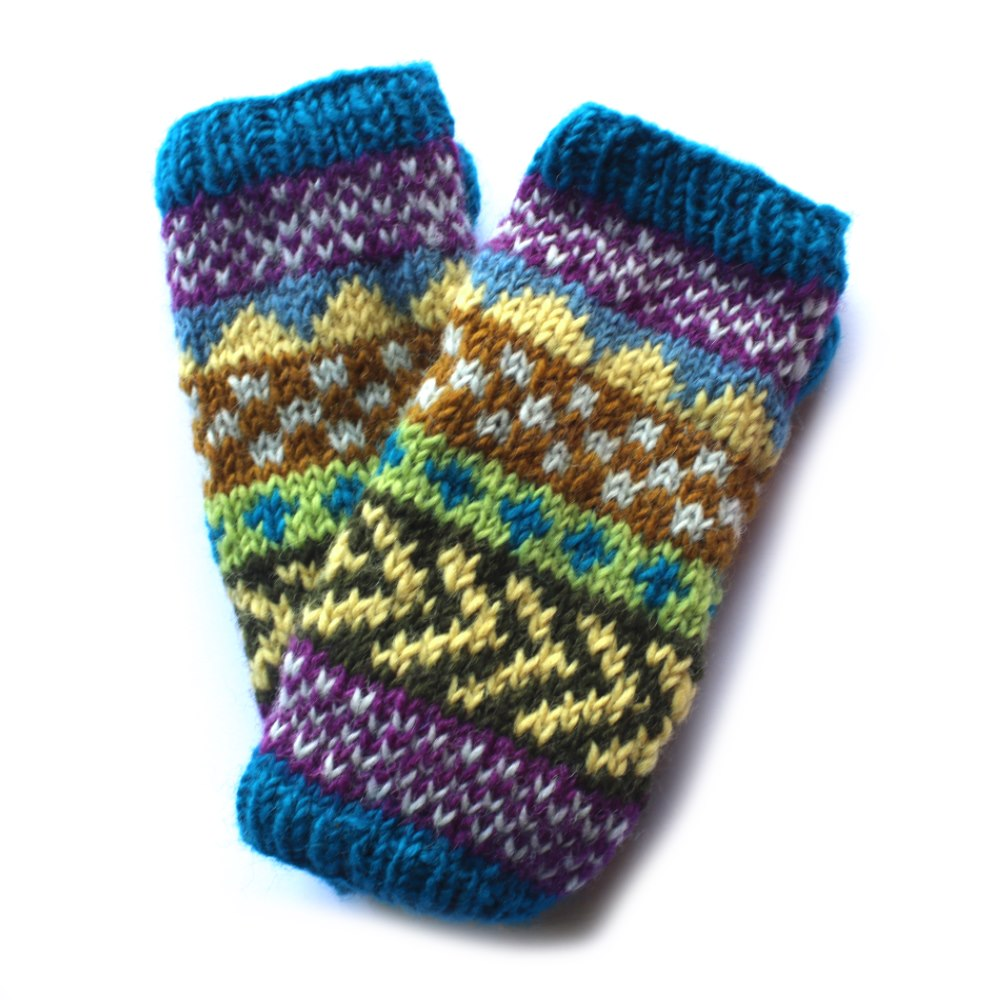 blue wool wrist warmers in winter stripe