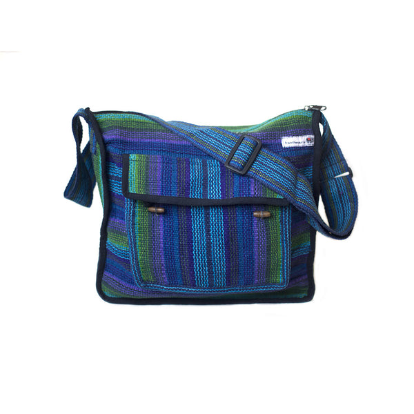 fair trade green purple striped gehri cotton zip top shoulder bag from Nepal