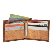 Load image into Gallery viewer, Slim Bi-Fold Cork Wallet Brown Natural Combo - Cork by Design