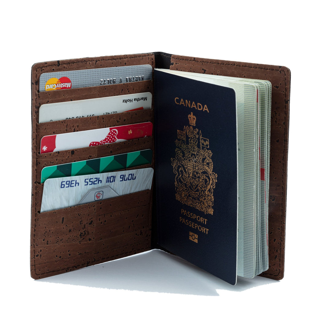 Passport Cover With Card Slots Brown - Cork by Design