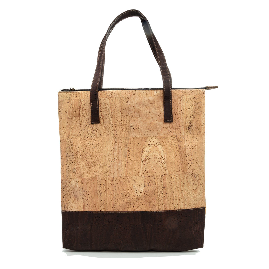 Cork Shopping Bag Ultra Light Zippered Tote Handbag - Cork by Design