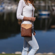 Load image into Gallery viewer, Cork Cross-Body Vegan Handbag Brown Triangle Pocket Bag Cork by Design