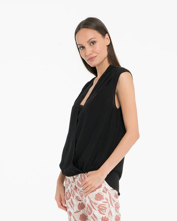 Blusa con finto top in lino di viscosa-CANNELLA