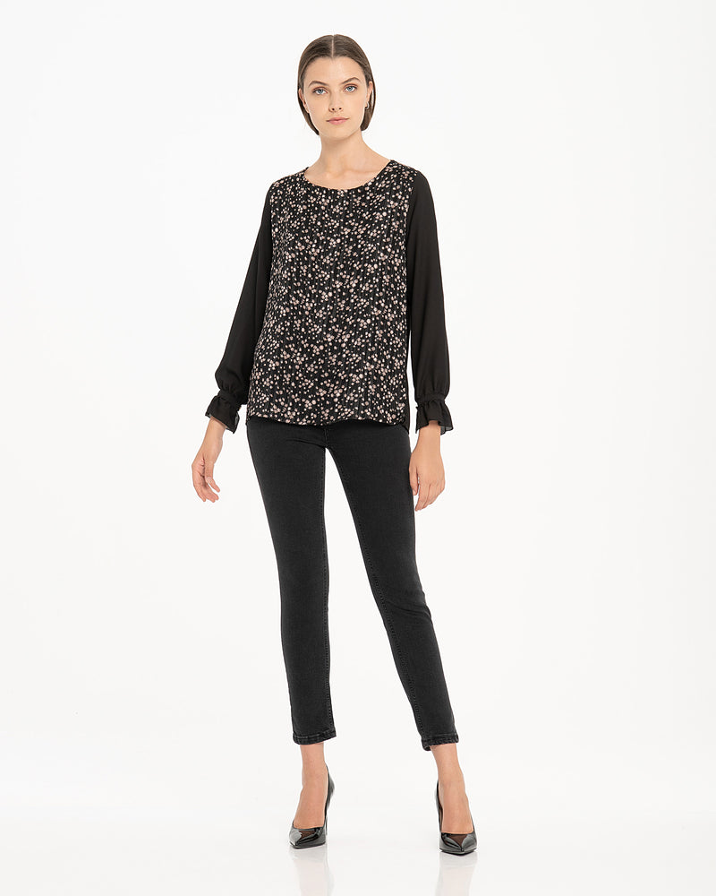 Blusa in georgette stampata-CANNELLA