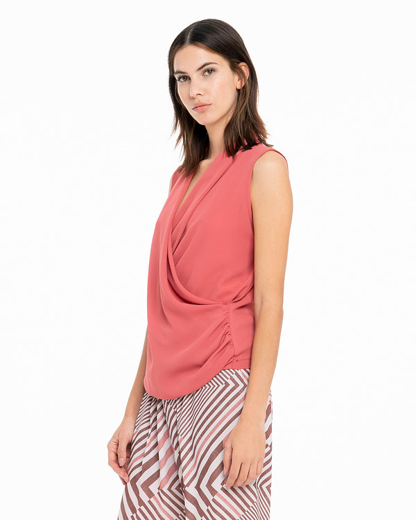 Blusa con davanti a incrocio-CANNELLA