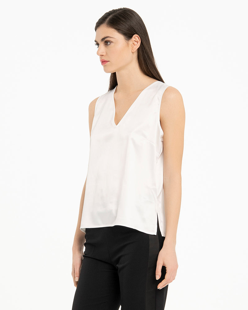 Top satin con scollo a V-CANNELLA