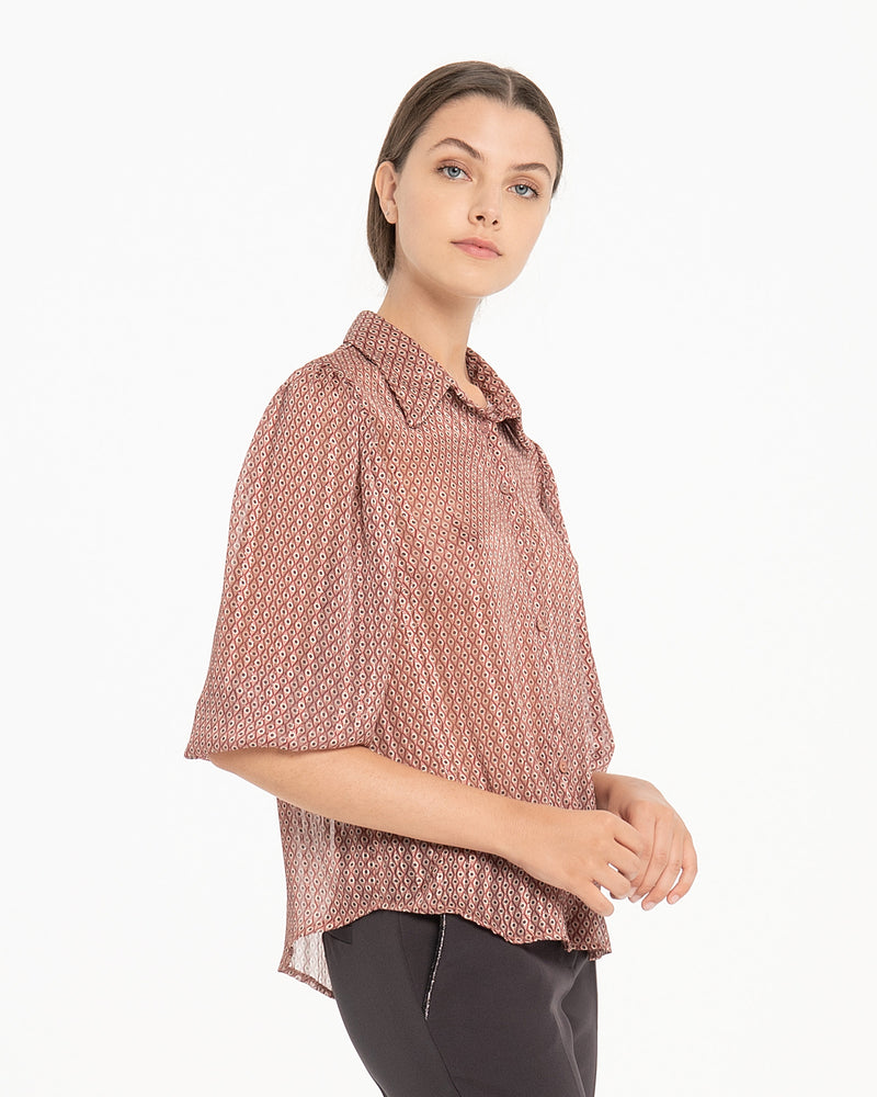 Camicia in georgette con bottoncini-CANNELLA