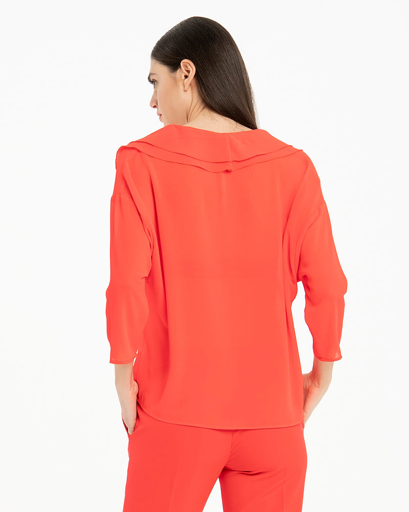 Blusa in georgette con doppia rouches-CANNELLA