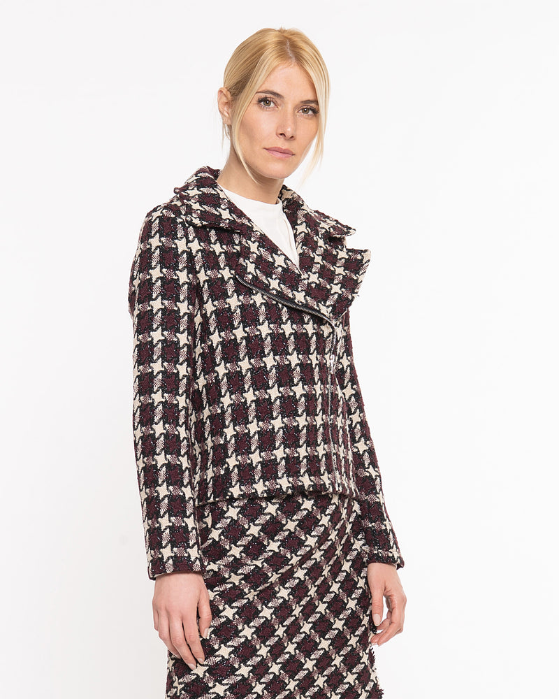 Giacca in tweed con zip-CANNELLA