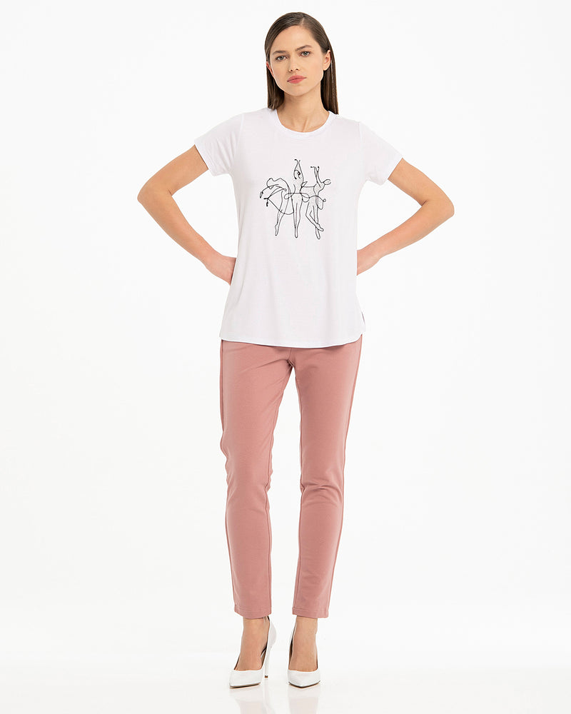 T-shirt in viscosa con ballerine-CANNELLA
