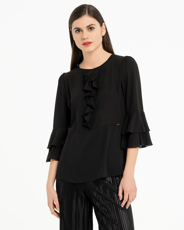 Blusa in georgette con rouches-CANNELLA