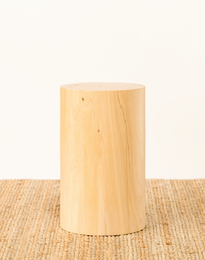 Small Cedar Cylinder Side Table