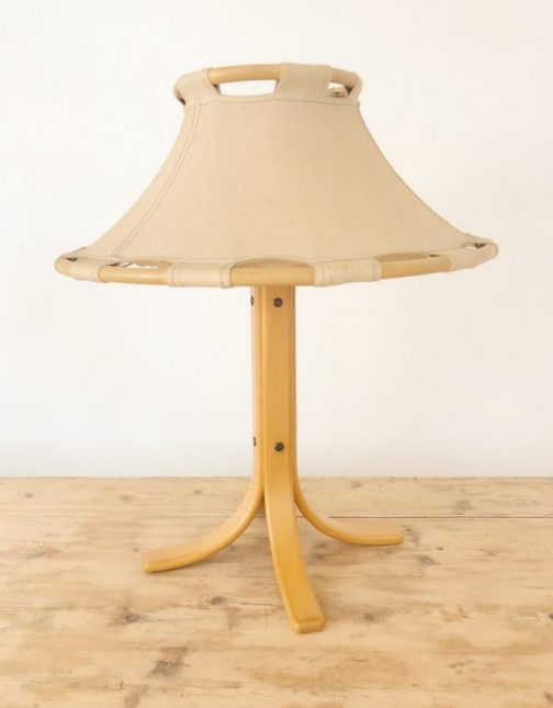 Natural Beech Wood & Linen Table Lamp