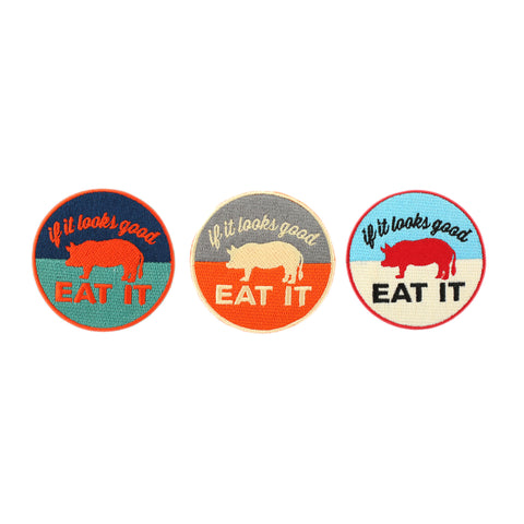 """If It Looks Good Eat It"" Pig Patches - Shop Andrew Zimmern - Extra  - 1"