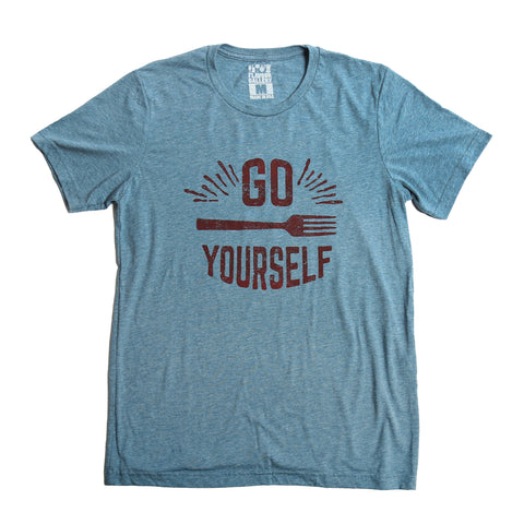 Go Fork Yourself T-Shirt (Unisex-Blue Denim) - Shop Andrew Zimmern - Clothing  - 1