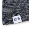 """If It Looks Good Eat It"" Ribbed Marled Beanie with Pig (Navy/Gray) - Shop Andrew Zimmern - Clothing  - 3"