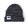 """If It Looks Good Eat It"" Ribbed Marled Beanie with Pig (Navy/Gray) - Shop Andrew Zimmern - Clothing  - 1"