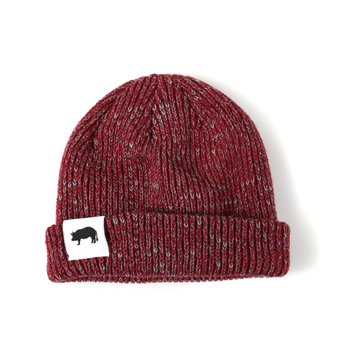 """If It Looks Good Eat It"" Ribbed Marled Beanie with Pig (Burgundy/Gray) - Shop Andrew Zimmern - Clothing  - 1"