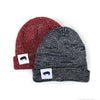 Ribbed Marled Pig Beanie (Burgundy/Gray) - Shop Andrew Zimmern - Clothing  - 5