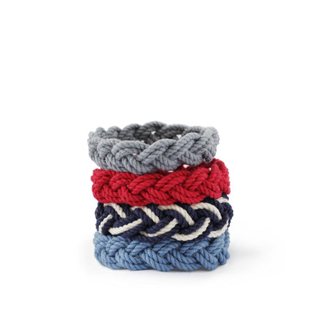 Mystic Knotwork Turk's Head Bracelets - Red, White, Blue, Grey