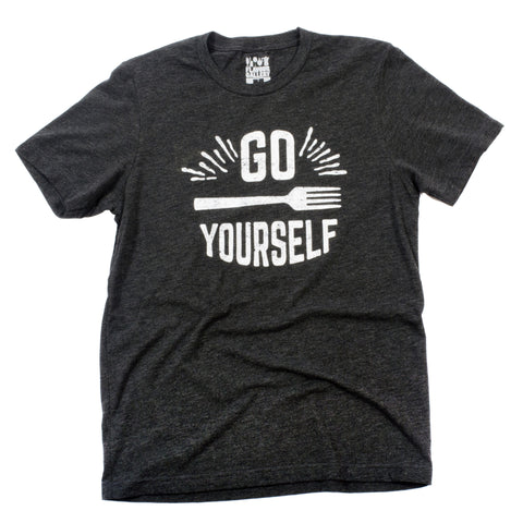 Go Fork Yourself T-Shirt (Unisex-Charcoal) - Shop Andrew Zimmern - Clothing  - 1