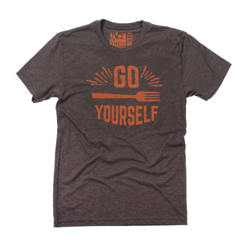 Go Fork Yourself T-Shirt (Unisex-Brown) - Shop Andrew Zimmern - Clothing  - 1