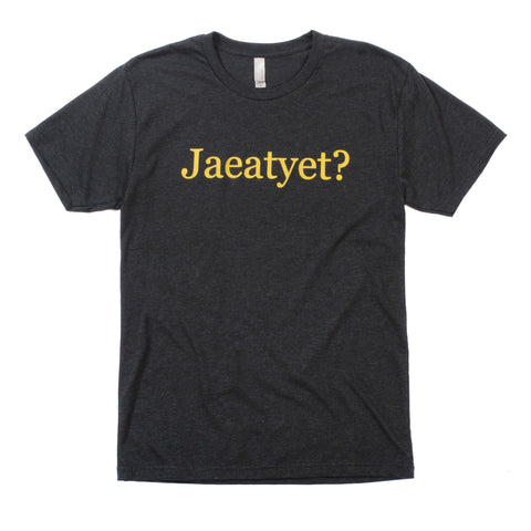 """Jaeatyet"" T-Shirt (Unisex-Dark Gray) - Shop Andrew Zimmern - Clothing  - 1"