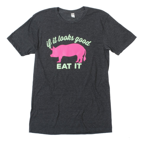 """If It Looks Good Eat It"" Pig T-Shirt - Black Heather - Shop Andrew Zimmern - Clothing  - 1"
