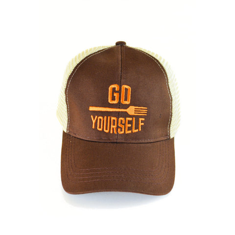 Go Fork Yourself Trucker Hat (Brown/Orange) - Shop Andrew Zimmern - Clothing  - 1