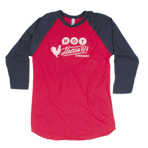 Hattie B's Hot Chicken Baseball Tee from Nashville, TN (Unisex-Red) - Shop Andrew Zimmern - Clothing  - 1