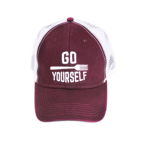 Go Fork Yourself Trucker Hat (Burgundy/White) - Shop Andrew Zimmern - Clothing  - 1