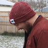 Ribbed Marled Pig Beanie (Burgundy/Gray) - Shop Andrew Zimmern - Clothing  - 7