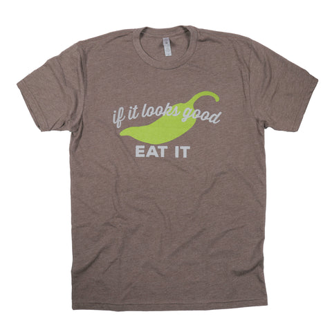 """If It Looks Good Eat It"" Chili Pepper T-Shirt - Brown"