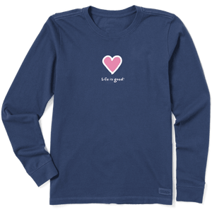 Life Is Good Heart Women's Long Sleeve Crusher T