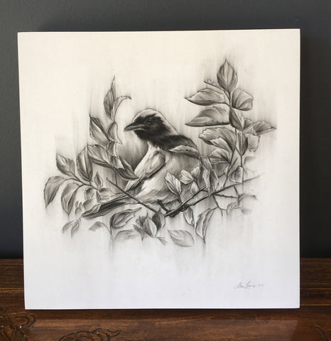 """Cuckoo in Leaves"" - 10 x 10"""