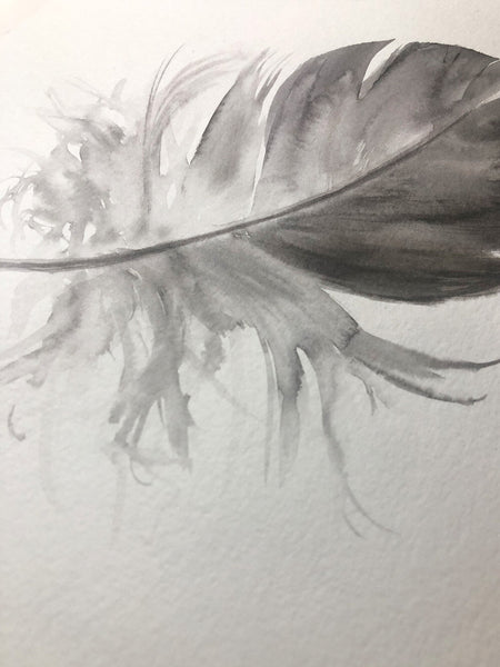 Grey Galah Feather #1 - 6 x 8""