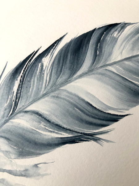 Indigo Feather #4 - 6 x 8""