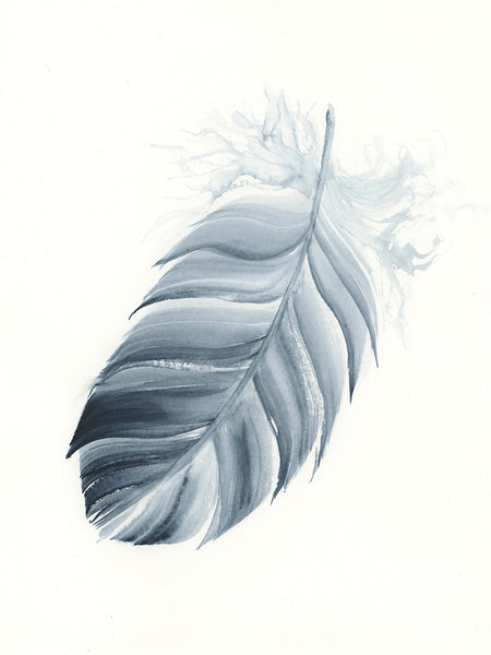 Indigo Feather #5 - 6 x 8""