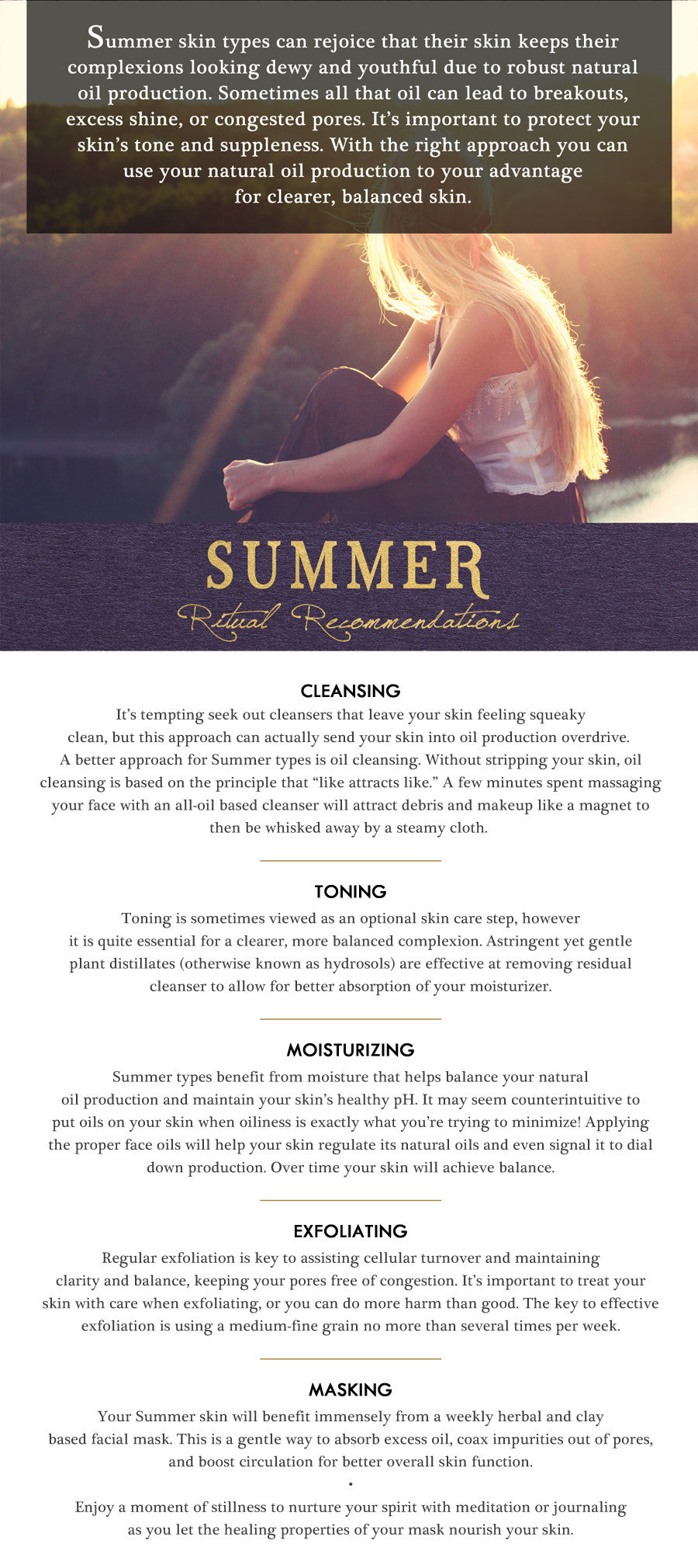 summer typology skin care report