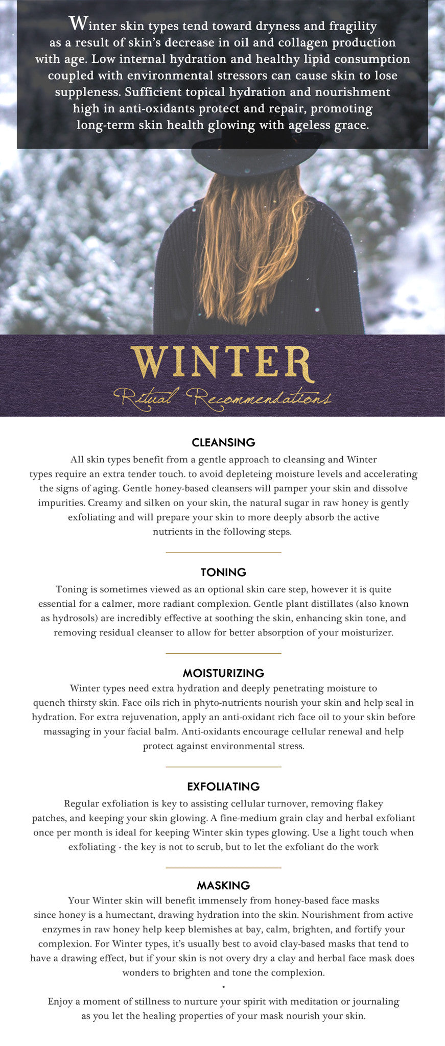 winter typology skin care report