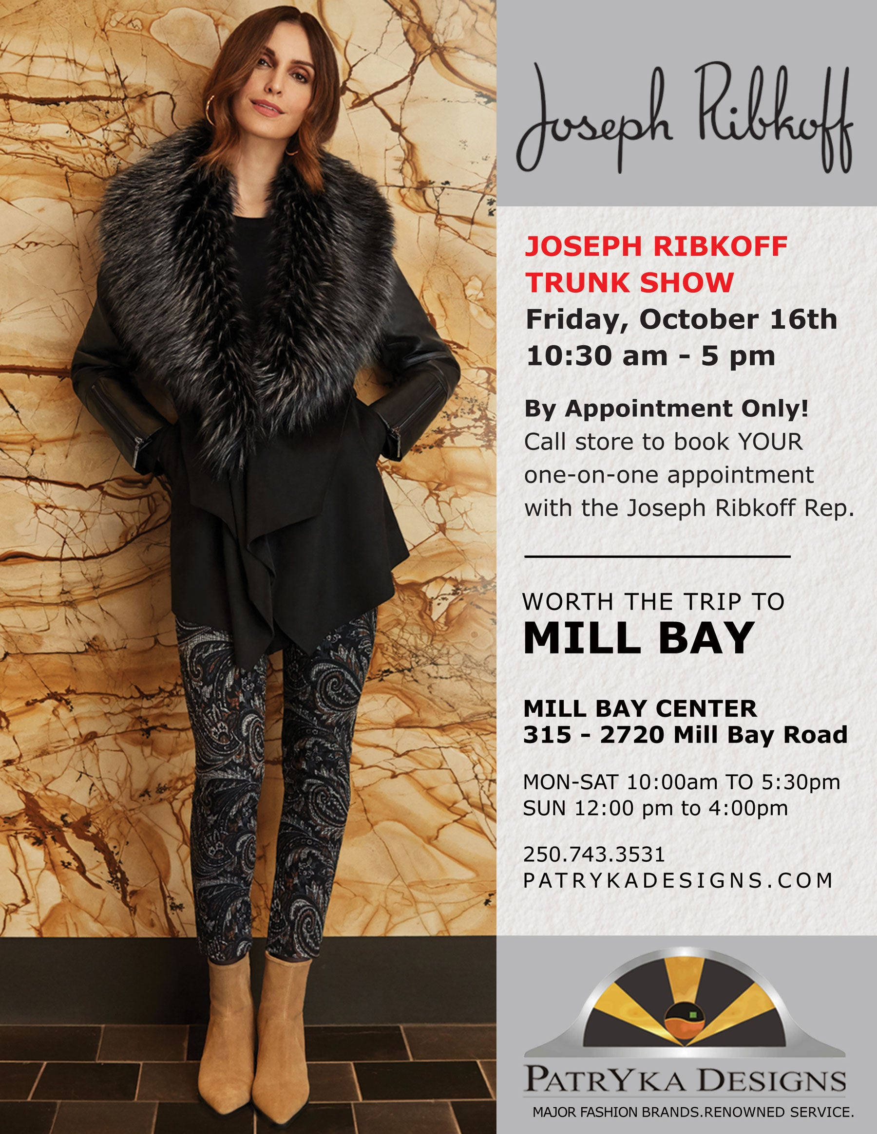Joseph Ribkoff Trunk Show happening on Friday October 16 2020 from 10:30 am to 5 pm BY appointment only. Call the store 250-743-3531, to book your one on one appointment with the Joseph Ribkoff rep.