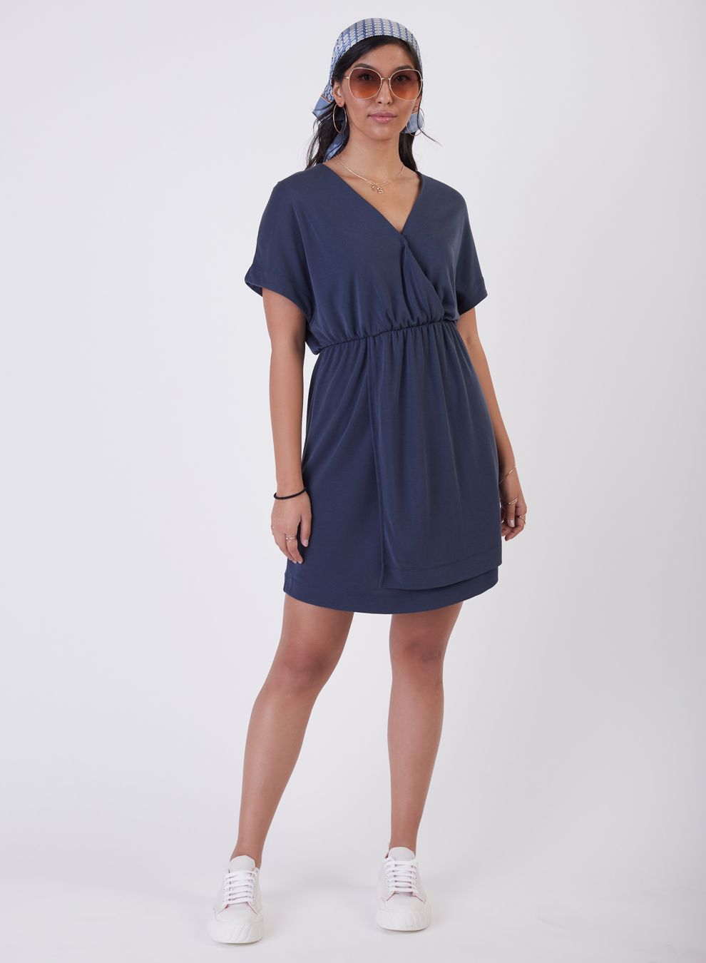 Black Tape Short Sleeve Dress - Style 1722021T